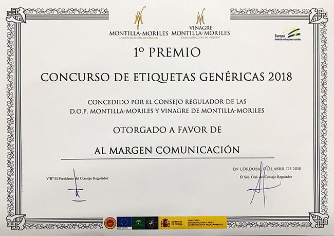 Recibimos el premio al diseño de etiqueta DO Montilla Moriles