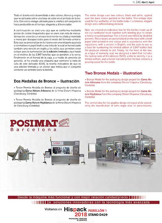 Publicación packaging aceite en Infopack