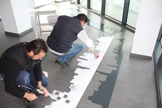 Diseño skyline para decoración, montaje sobre paredes