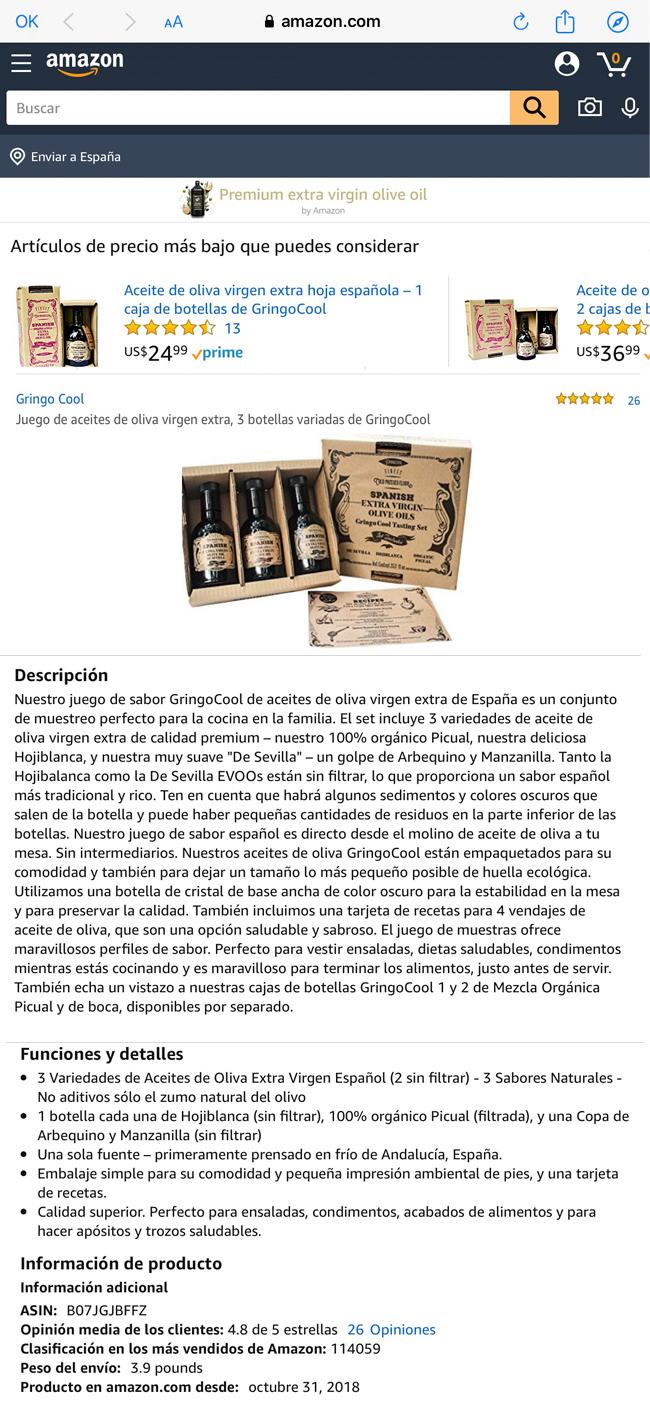 Gringo Cool entre los 14 aceites de oliva más vendidos en Amazon USA Formatos y descripción en Amazone