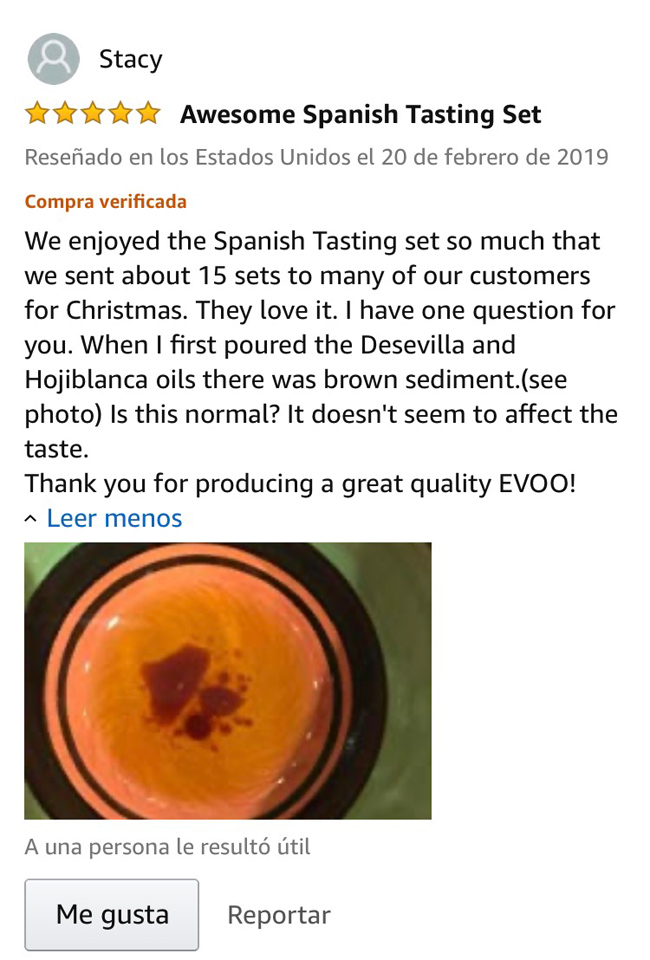 comentarios en Amazon aceite Gringo Cool