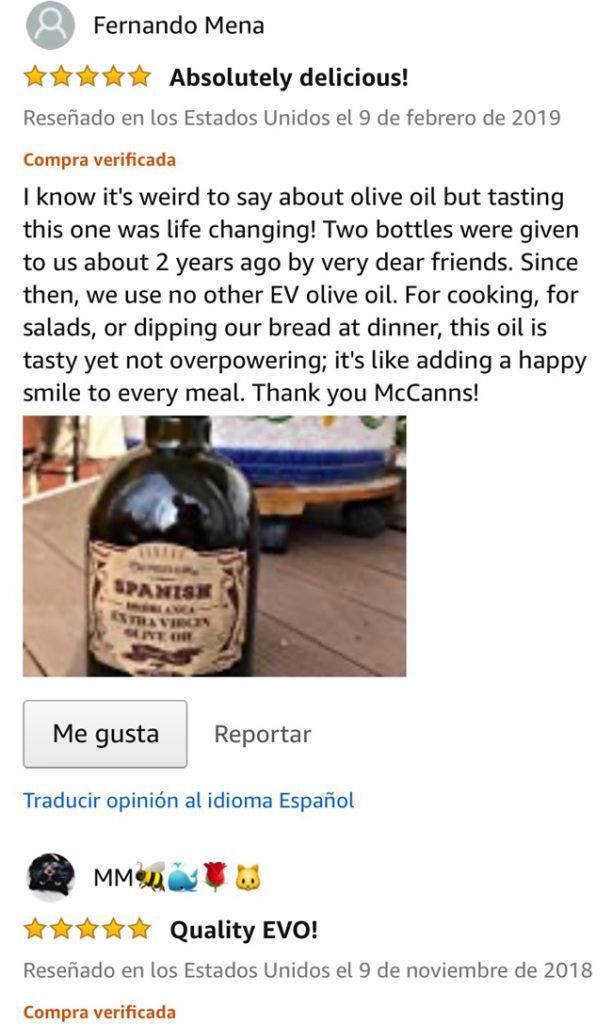 Valoración de cliente de amazon sobre el producto con fotografía del mismo