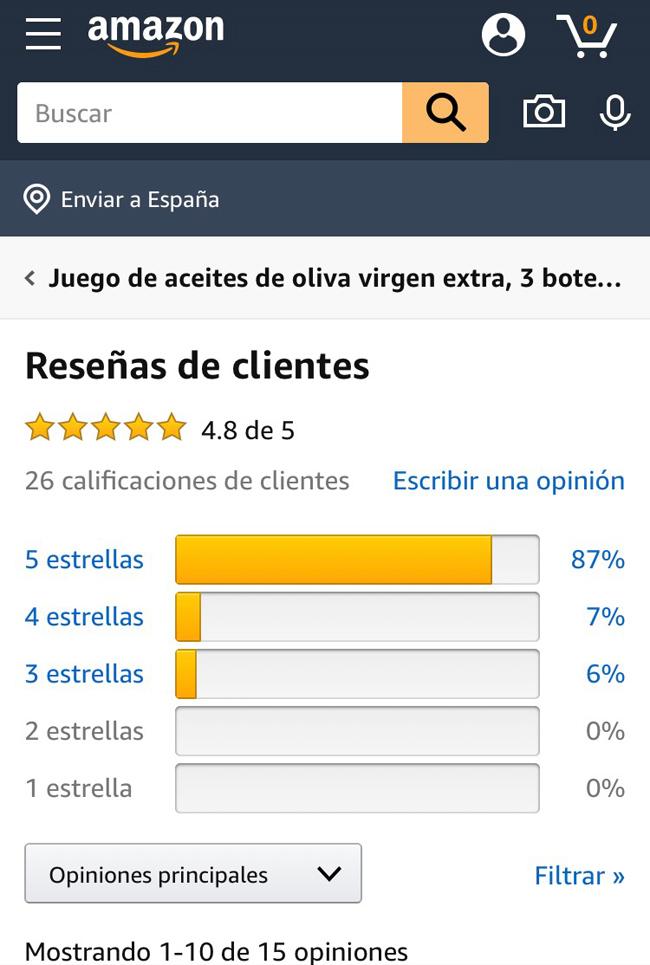 reseñas de clientes en Amazone