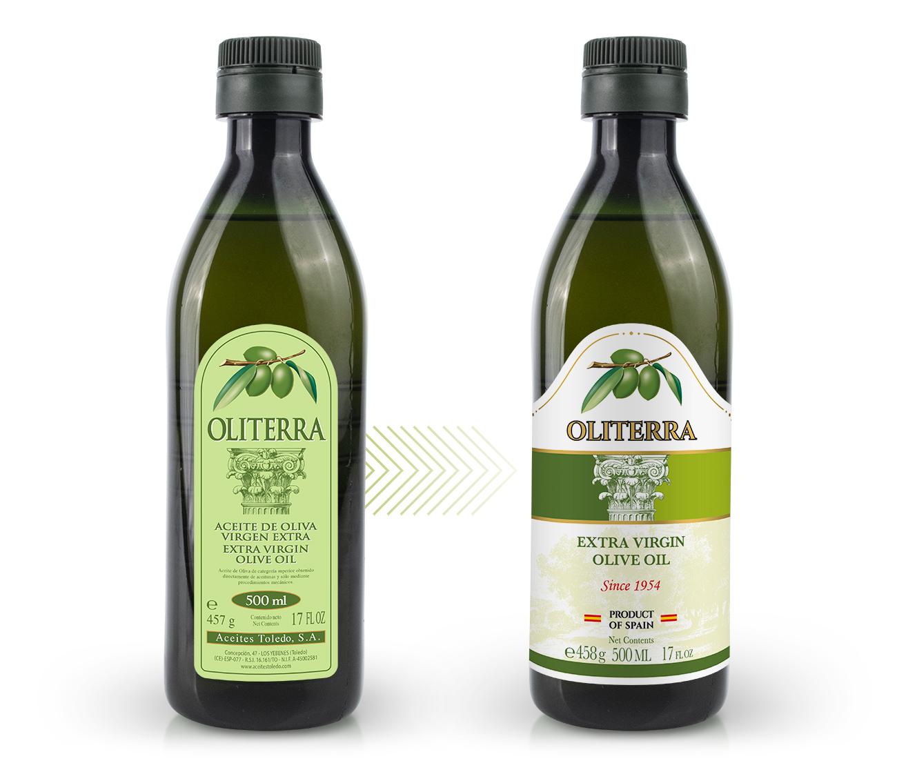 Oliterra, marca líder de Aceites. Restyling de diseño de brand y packaging de aceite